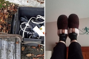 On the left, a weatherproof connection box with wires inside on a bed of leaves. On the right, reviewer wears dark red slippers while relaxing at home
