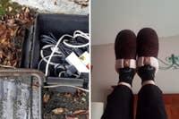 左边是一个防风雨的接线盒,里面的电线放在叶子床上。 在右侧,审阅者在家中休息时穿深红色拖鞋