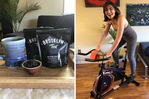 on the left tea from brooklyn tea, on the right the writer on an exercise bike