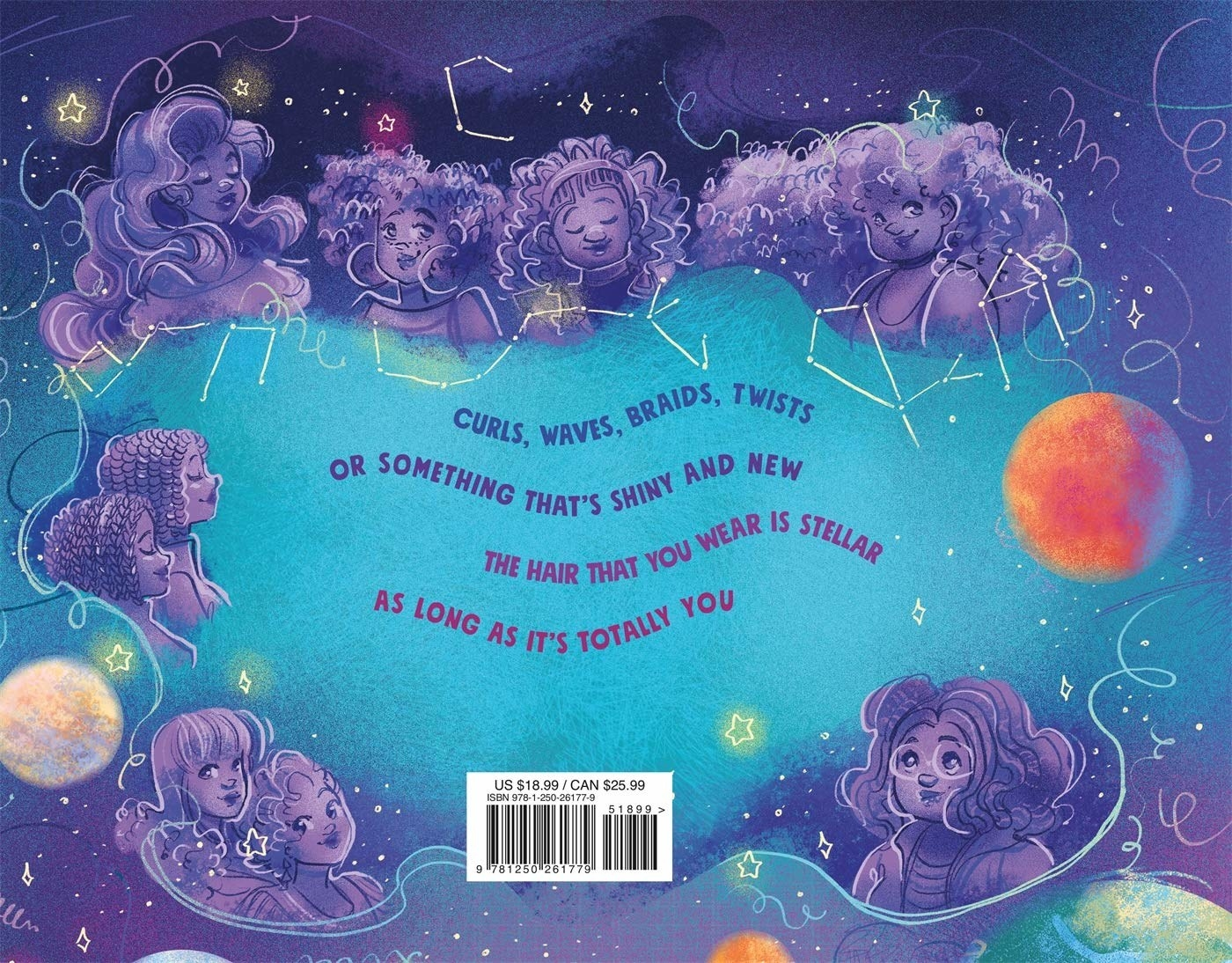 """The back cover which says """"Curls, waves, braids, twists, or something that's shiny and new. The hair you wear is stellar as long as it's totally you."""""""