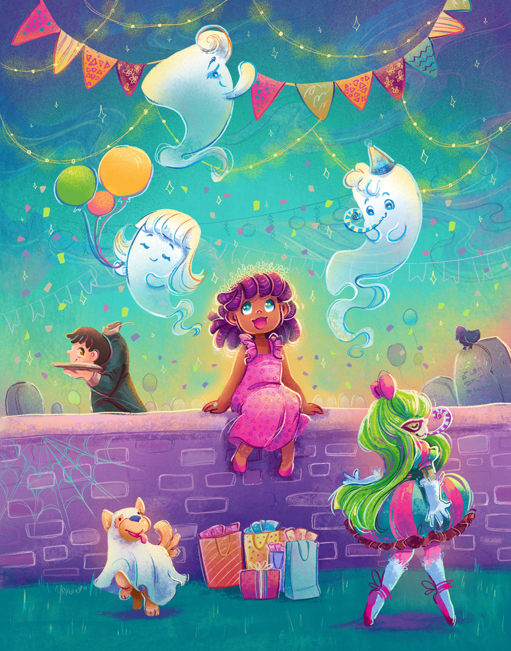 A young girl sitting on a brick wall and is looking up at two ghosts holding balloons