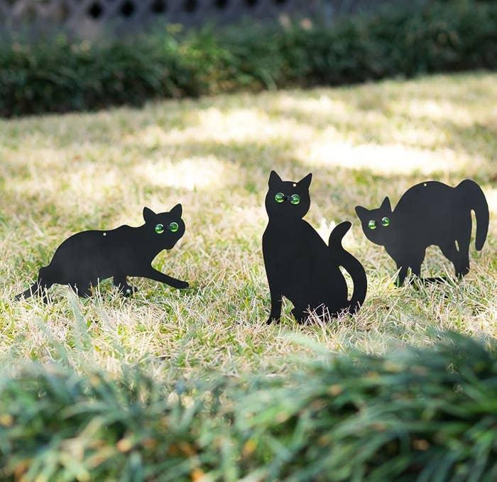 black cat style yard decorations