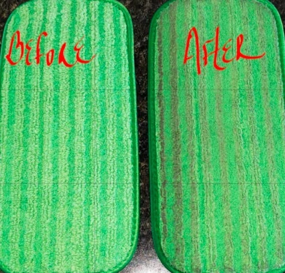 A reviewer before-and-after photo of the mop pad looking clean before use, and dirt absorbed into the pad after use