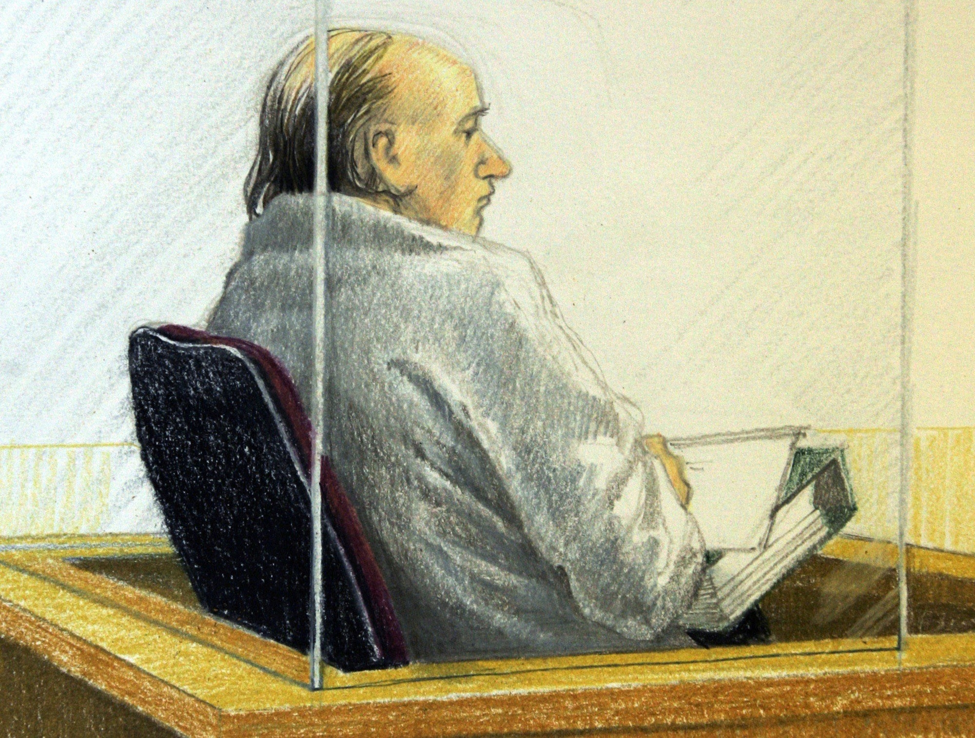 Sketch of Robert Pickton during his trial.