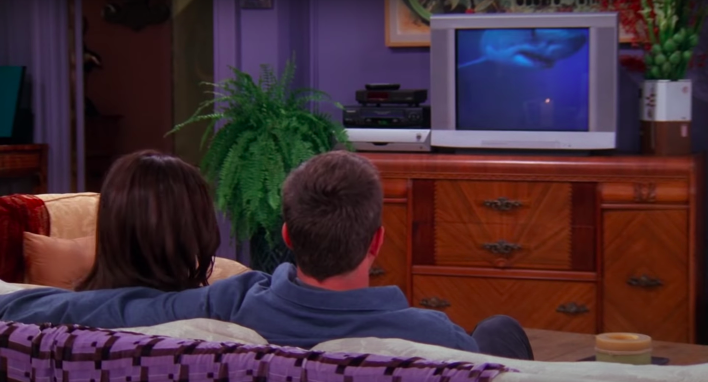 Chandler and Monica sit in front of their TV, watching a shark video