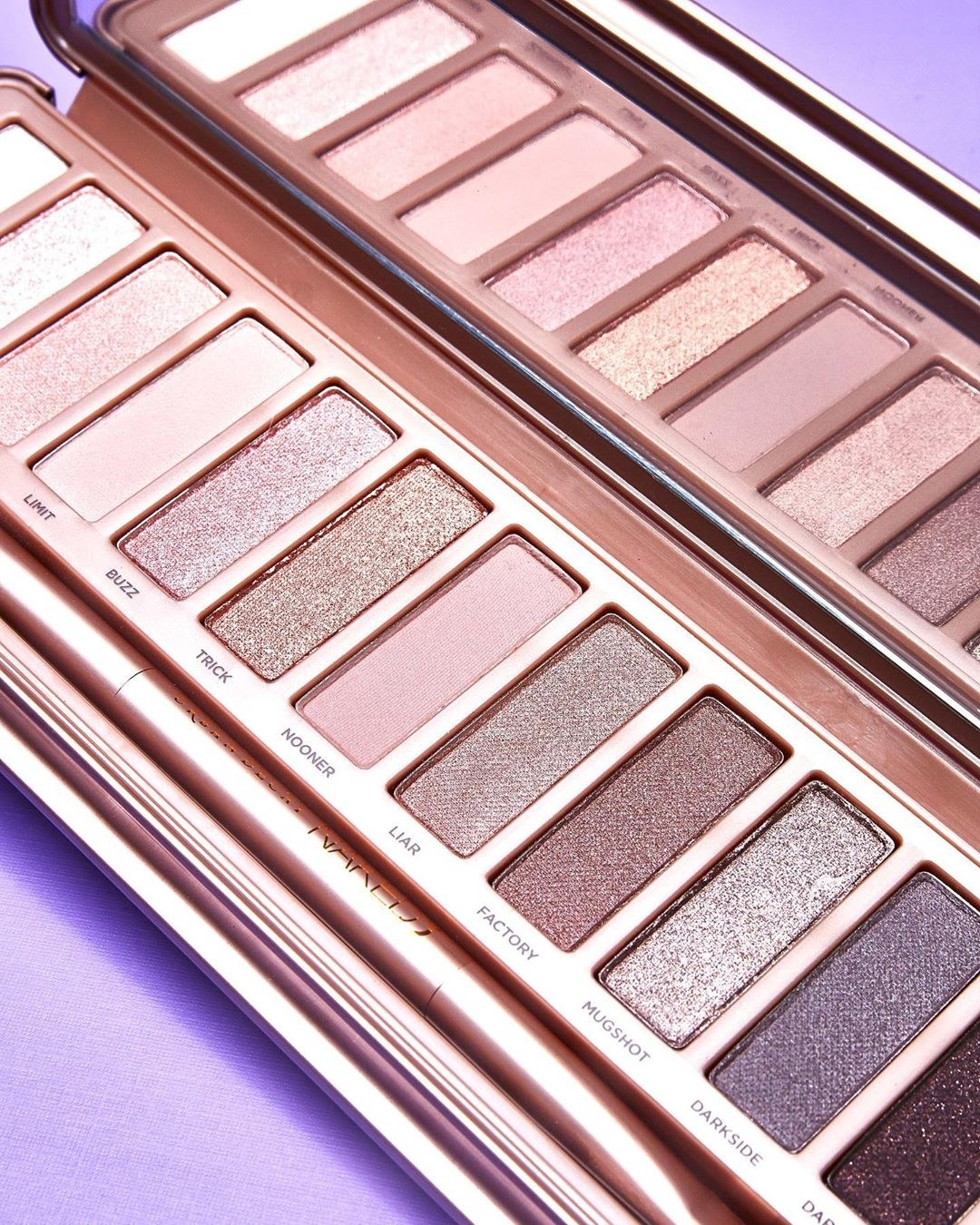 A close up of the eyeshadow pans in the palette