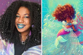 A selfie of Yesenia and an illustration she made of a mermaid with big curly hair