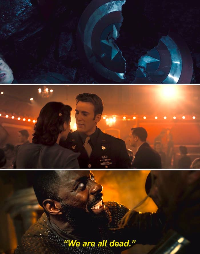 """Captain America's broken shield, Steve Rogers dancing with Peggy Carter, and Heimdall saying, """"We are all dead,"""" in Avengers: Age of Ultron"""