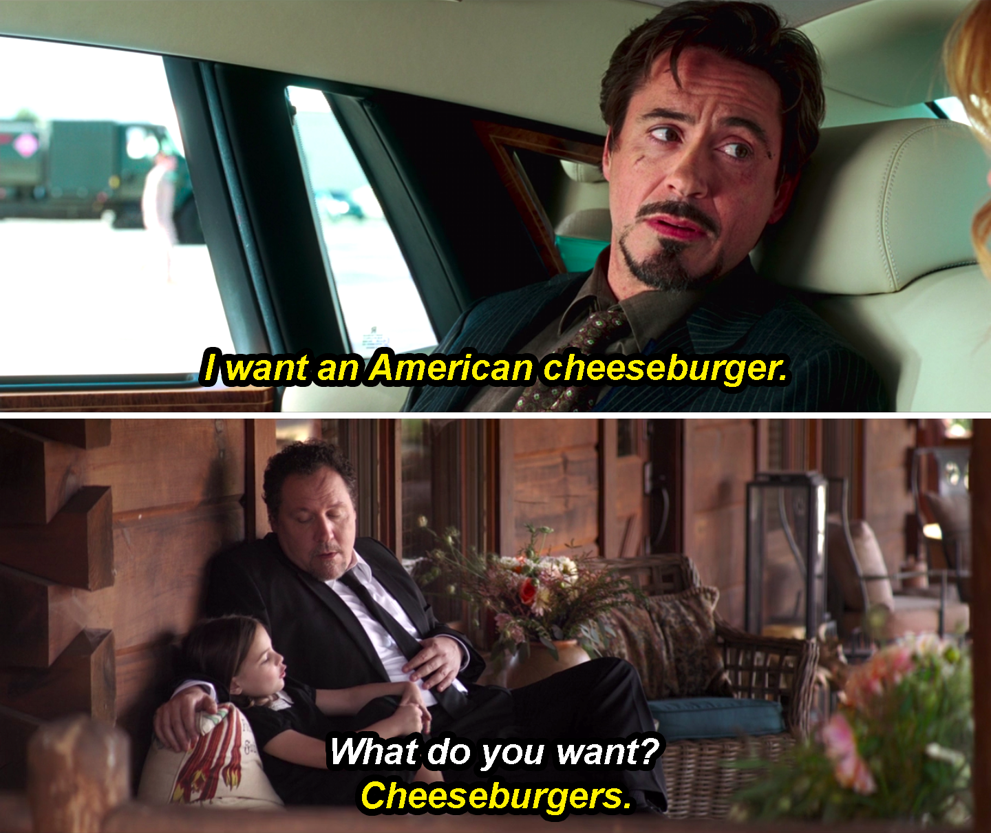 "Tony Stark saying, ""I want an American cheeseburger,"" in Iron Man and Morgan Stark responding to Happy Hogan asking her what she wants with ""Cheeseburgers,"" in Avengers: Endgame"