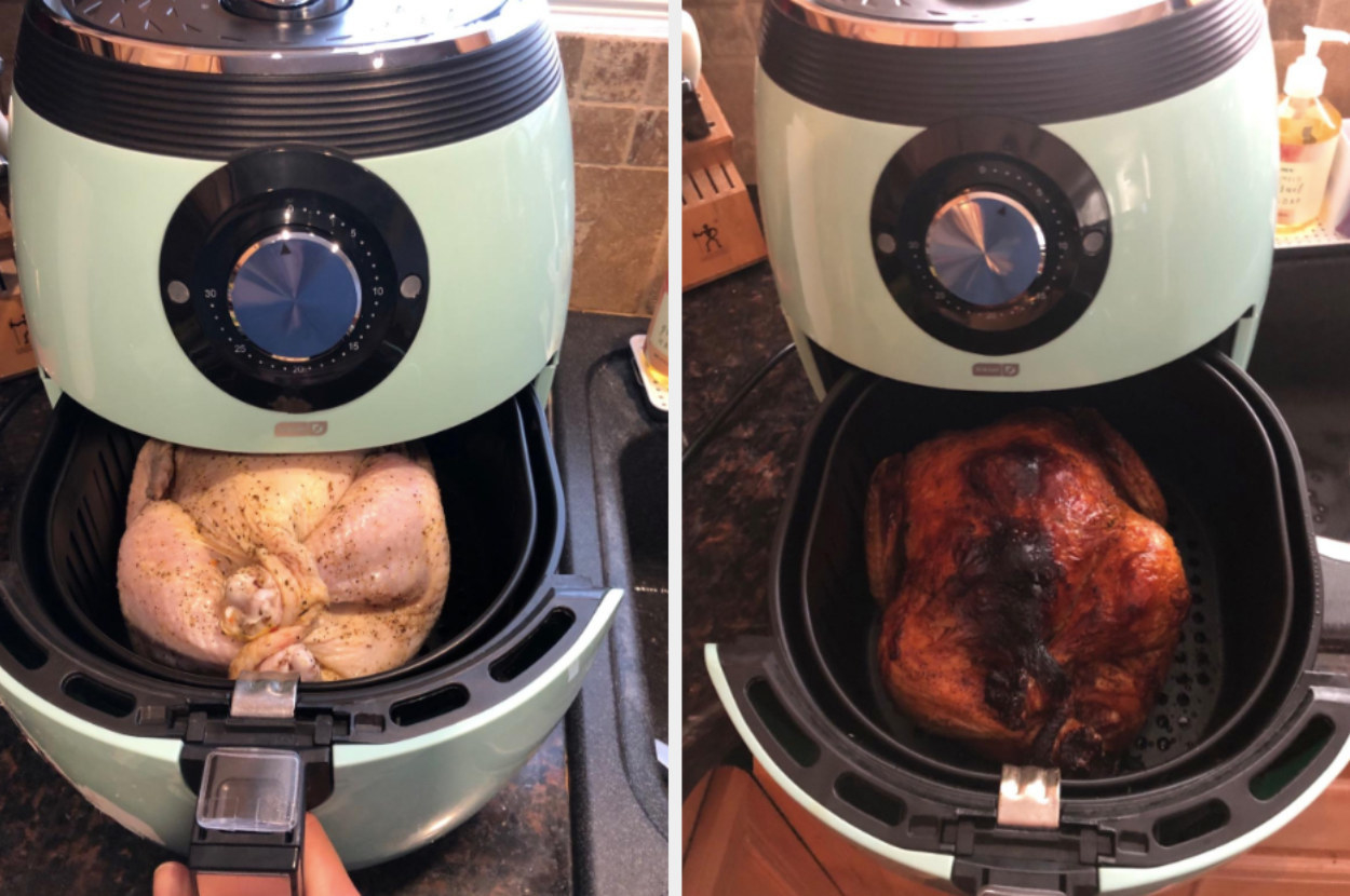 On the left, an uncooked chicken being placed inside the air fryer, and on the right, the same chicken now looking perfectly cooked
