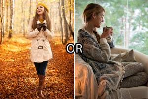 (left) A woman in boots, coat, gloves and beanie smiles a she walks through an autumn forest; (right) A woman sips a hot drink as she dits on a chair bundled up in comfy clothes