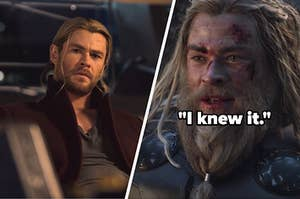 """Thor looking at Steve Rogers trying to lift his hammer in Avengers: Age of Ultron and Thor saying, """"I knew it,"""" in Endgame"""