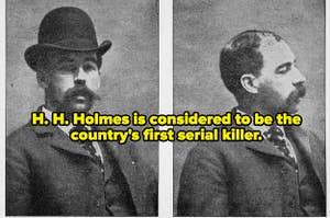 Side-by-side mugshots of H. H. Holmes.
