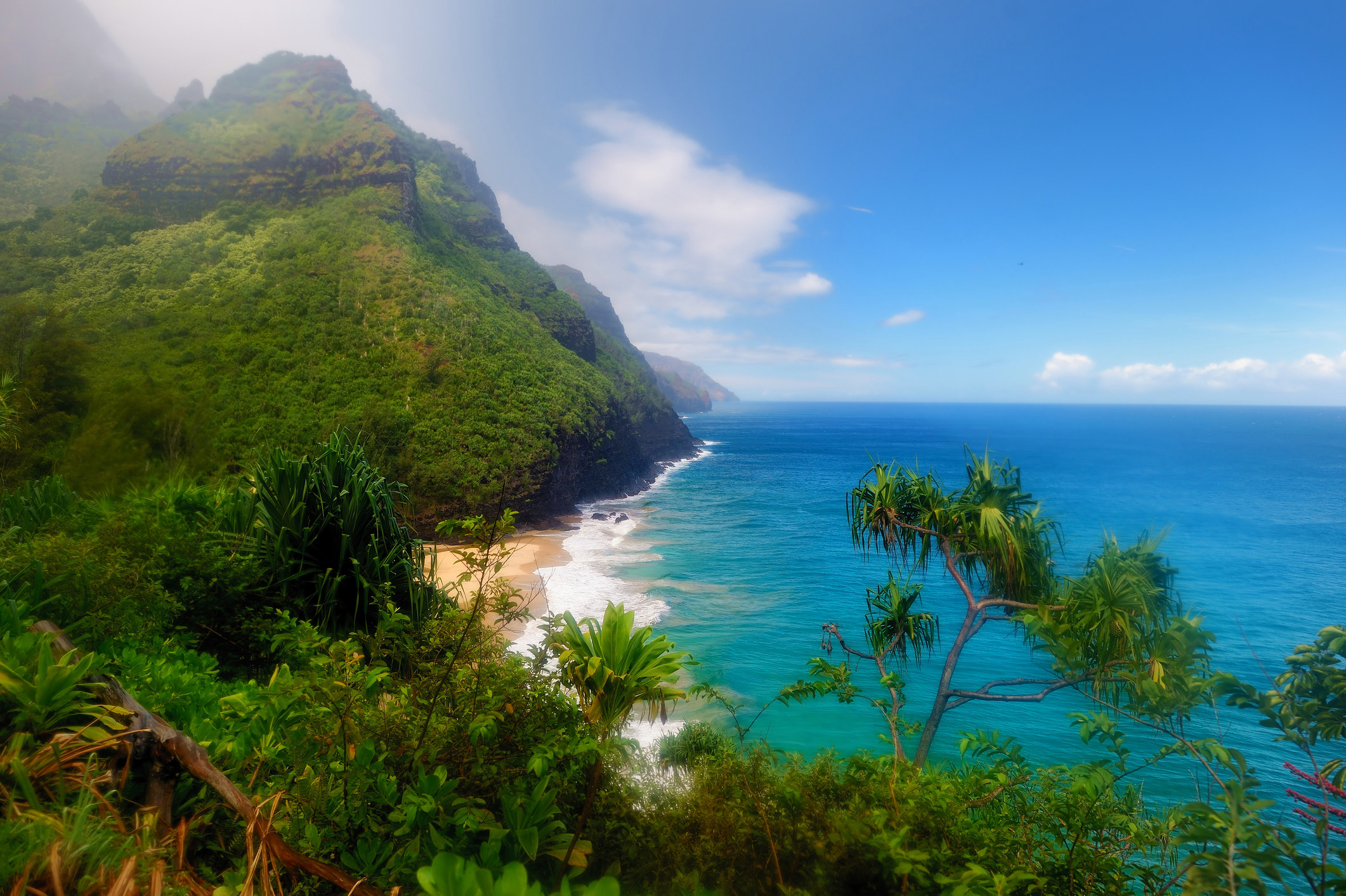 A view of lush mountains covered with greenery meeting the clear ocean and sandy shore
