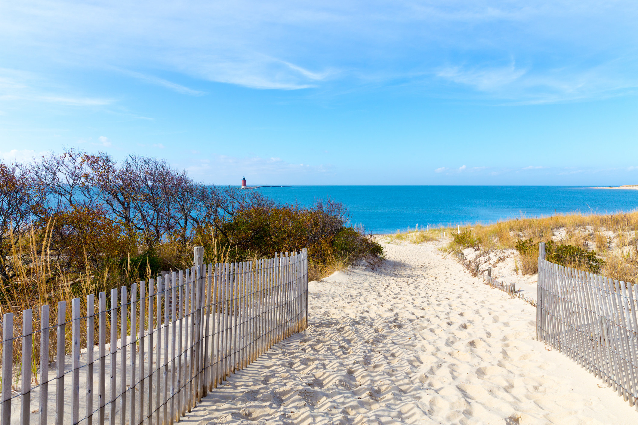 A sandy path leads to a view of the ocean and clear skies above