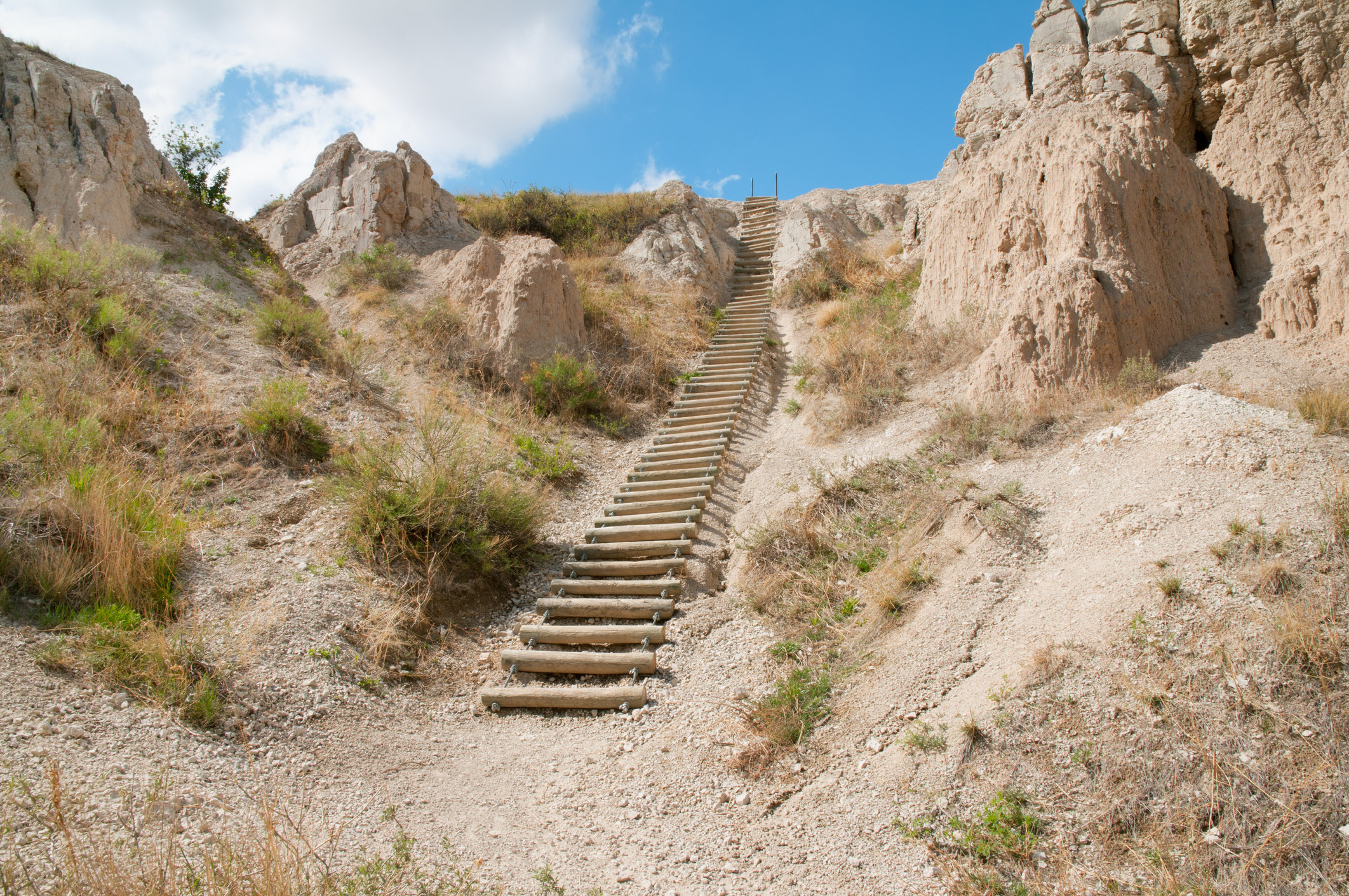 Rustic, wooden ladder climbing along Notch Trail in the Badlands National Park