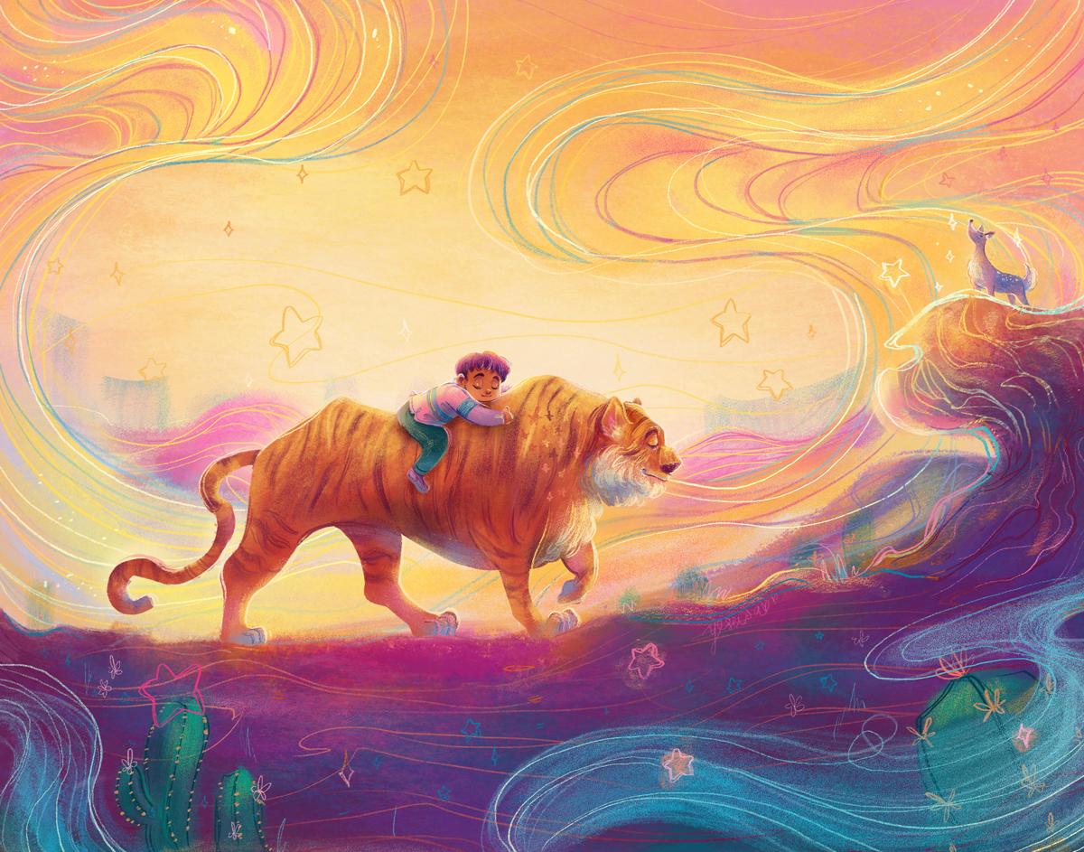 A boy riding a tiger through a colorful desert