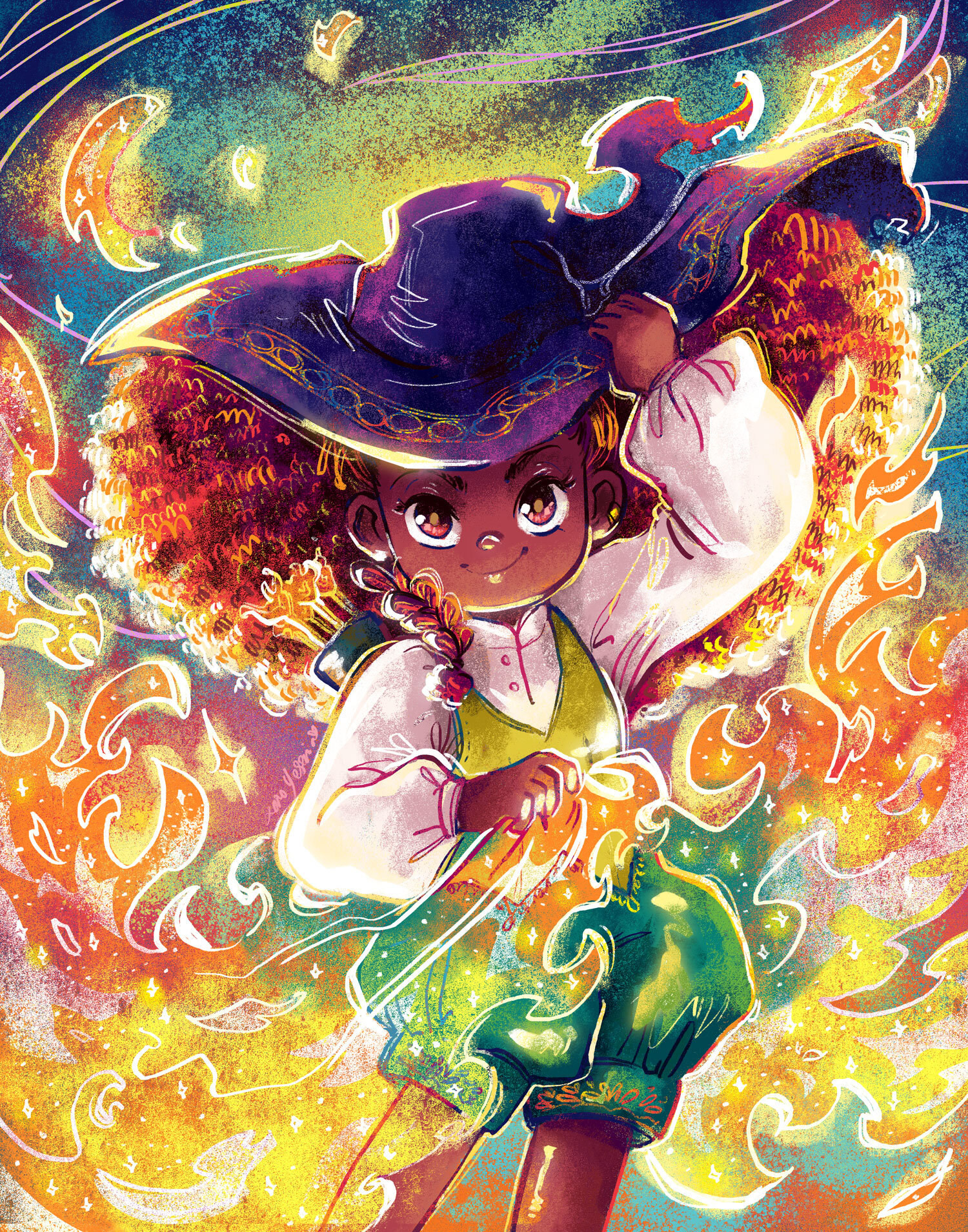 A young witch holding her hat and surrounded by flames