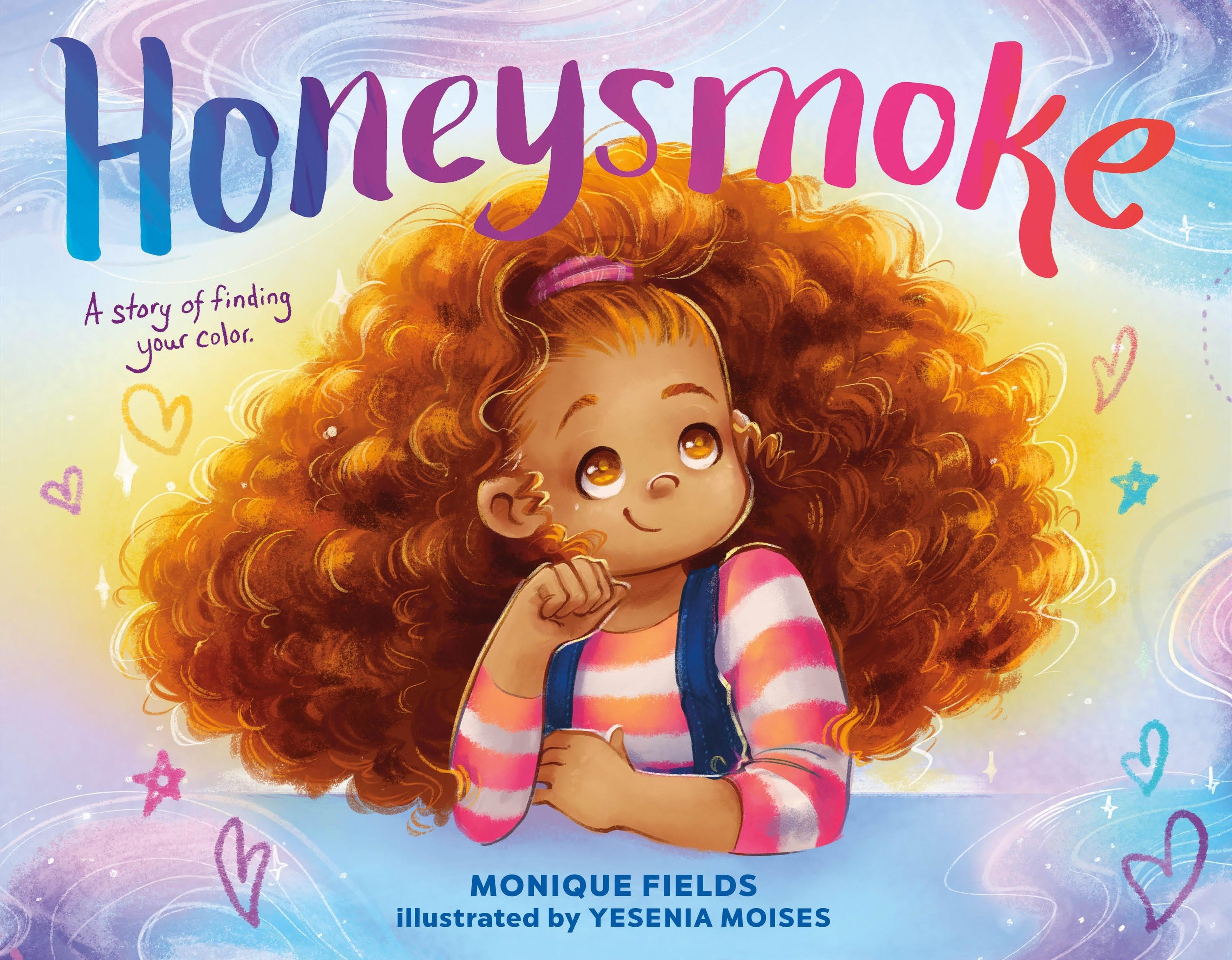 The book cover featuring a young girl with big curly hair looking off into the distance