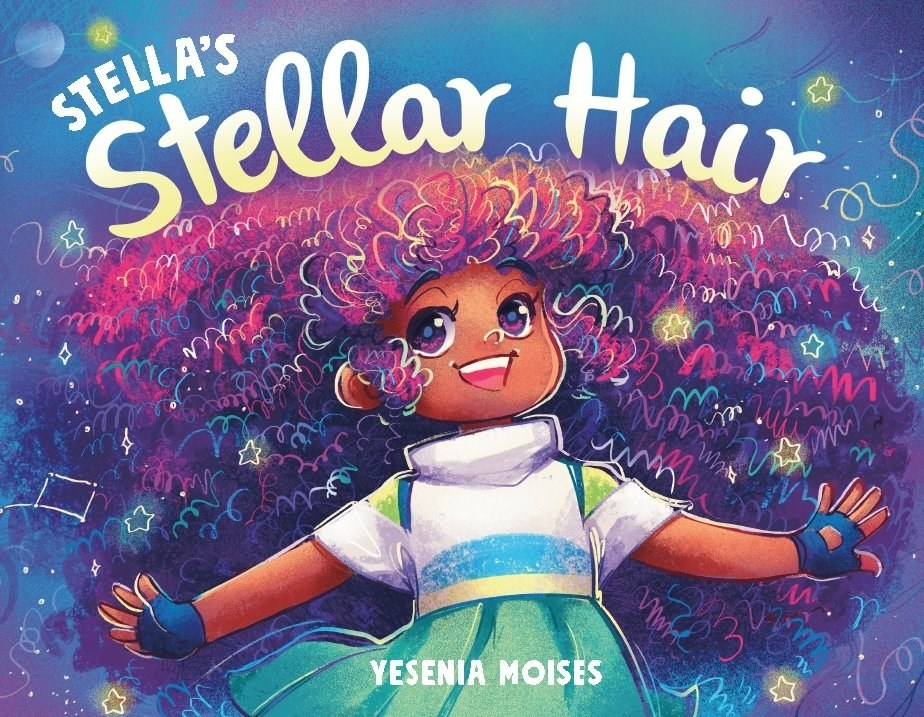 The book cover features Stella with big curly hair and covered in starlight