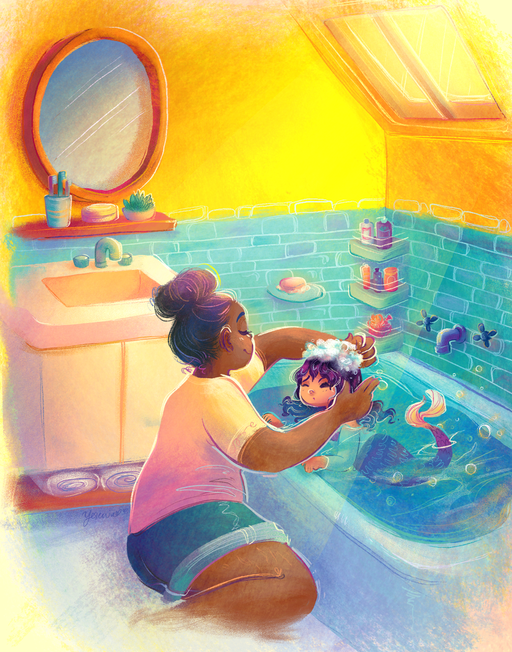A mom washing her mermaid daughter's hair in the bathtub