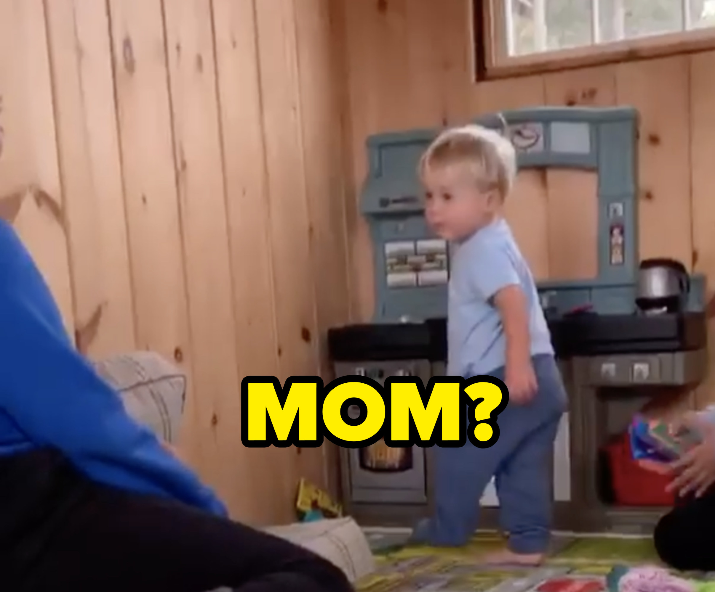 """Amy saying, """"Mom?"""" to her 1-year-old, Gene"""