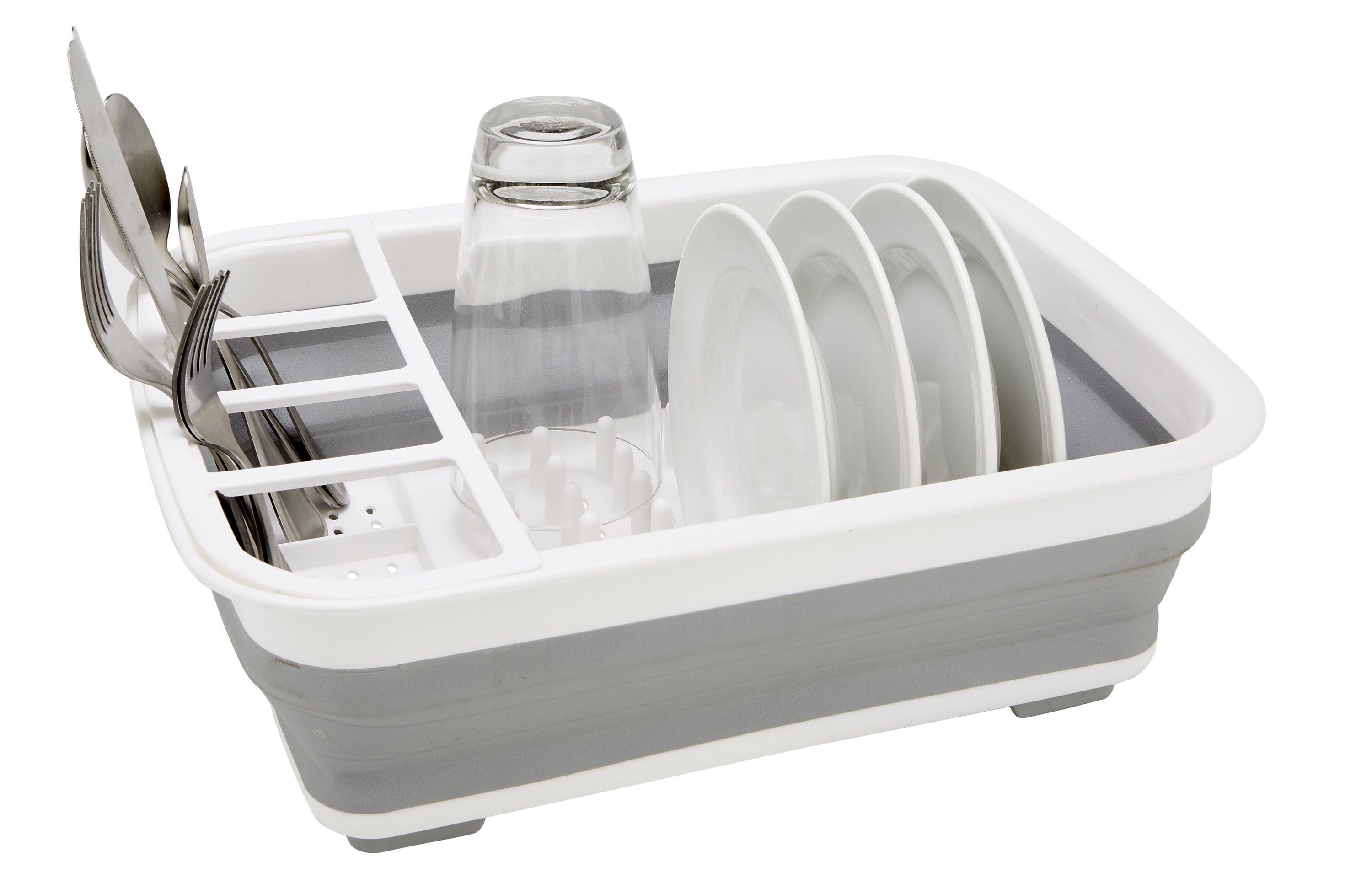 Gray and white collapsible dishrack