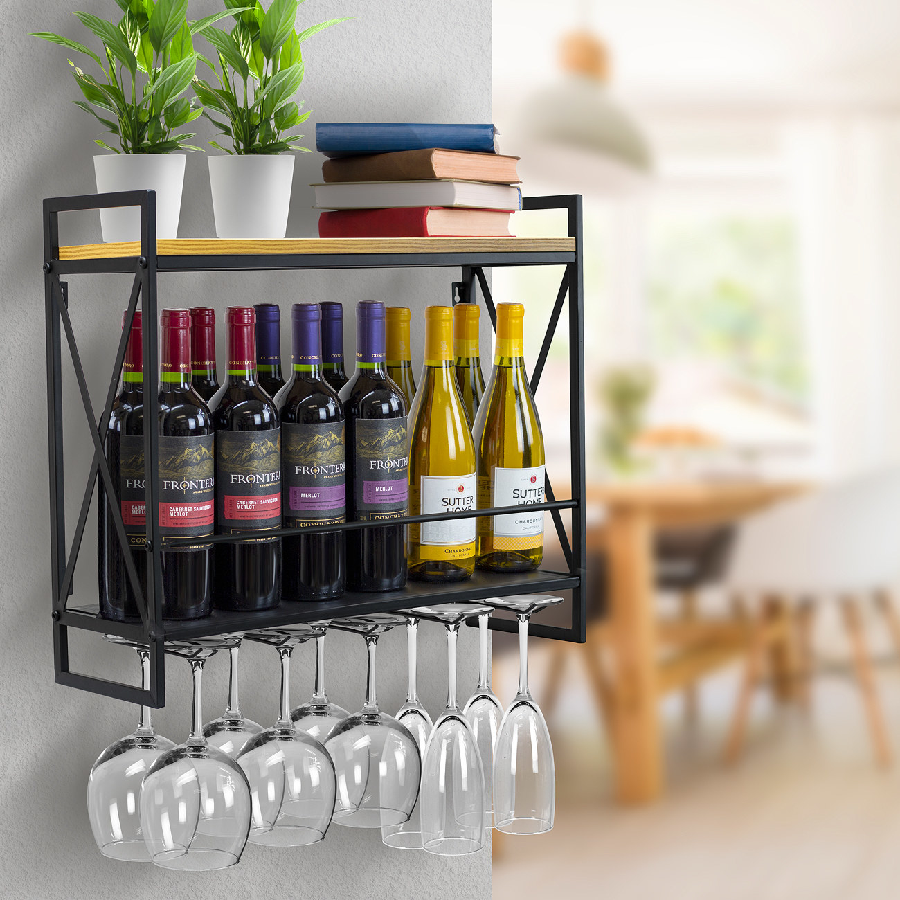 Black and brown industrial wine rack