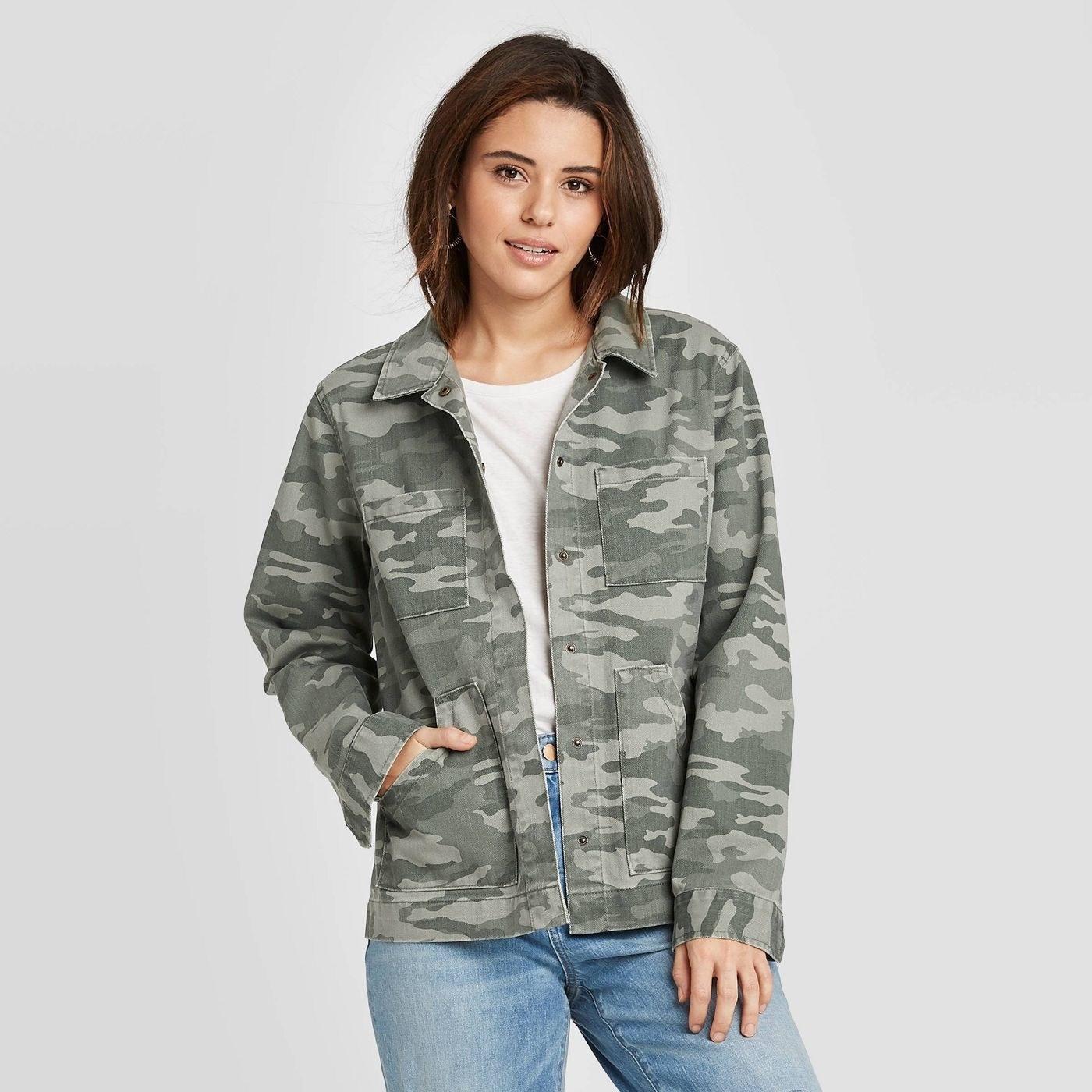 Model wearing the green jacket