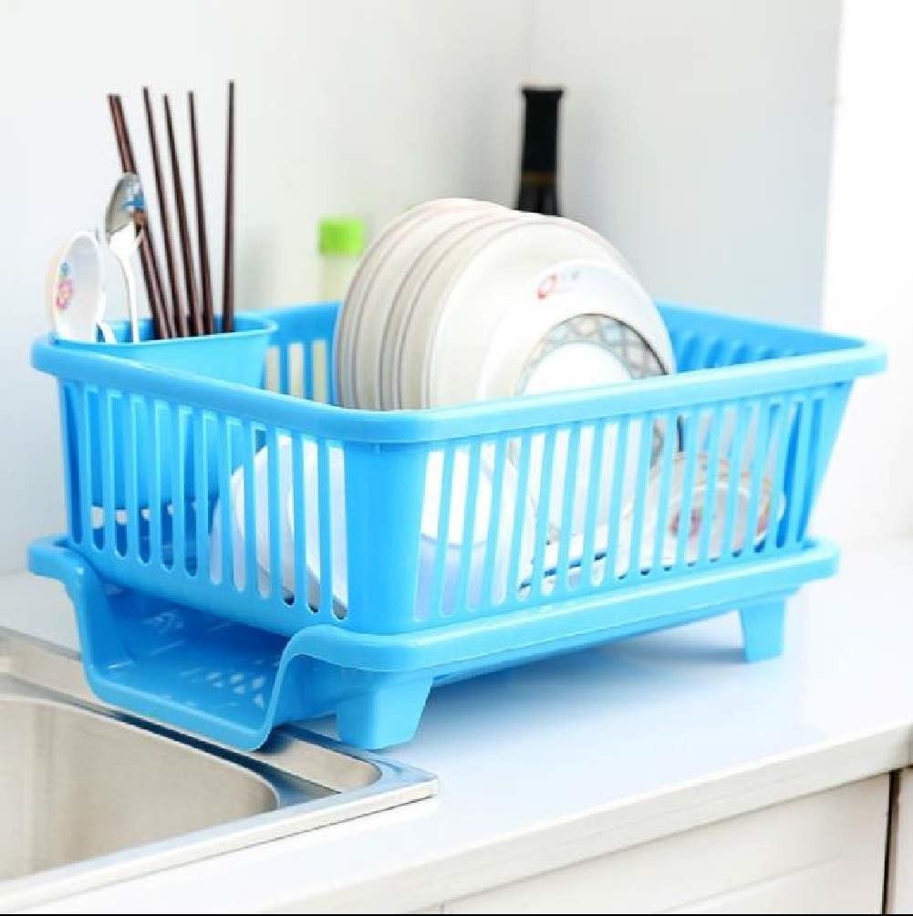 A blue dish drying rack