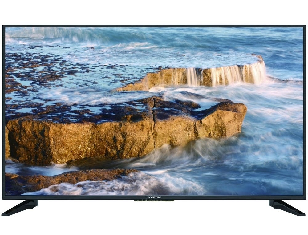 The TV with an image of a waterfall on the screen