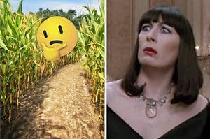 A think face emoji is placed in a corn field on the left with a witch looking funny on the right