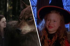Bella and the wolf is on the left with a young girl wearing a witch costume on the right