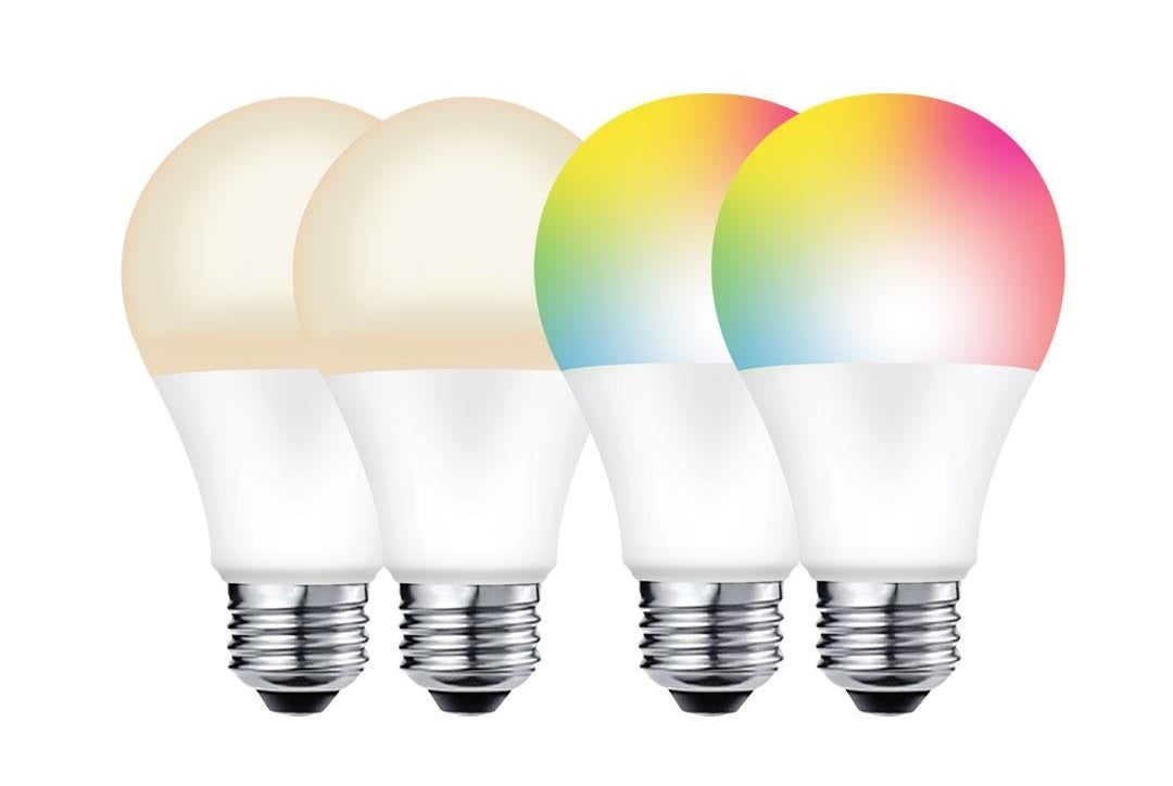 Four light bulbs, two white and two multicolored