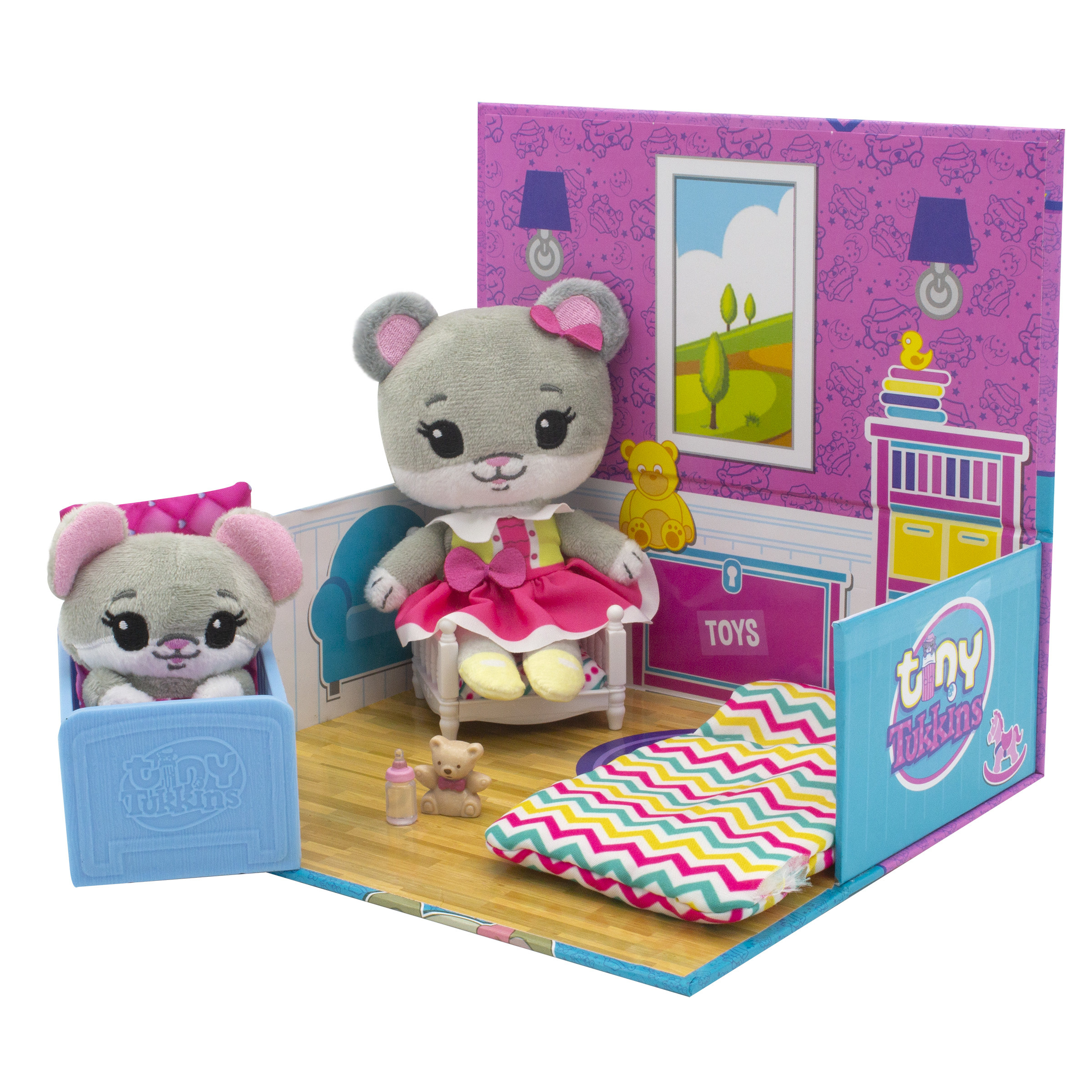 A mouse toy in a colorful room playset