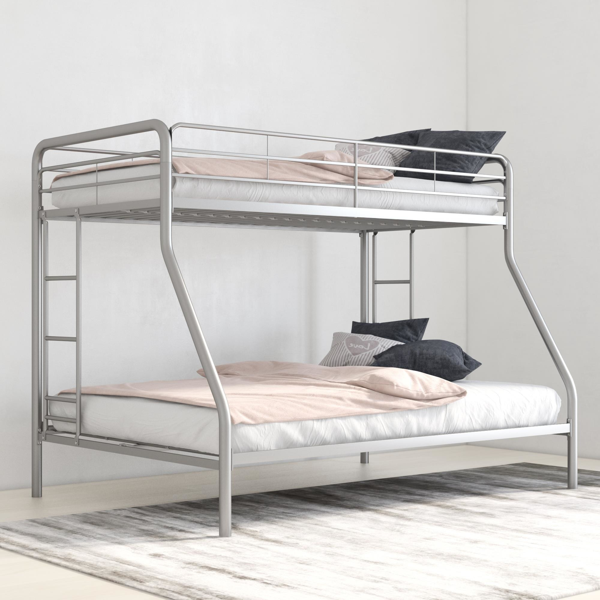 The silver bunk bed frame
