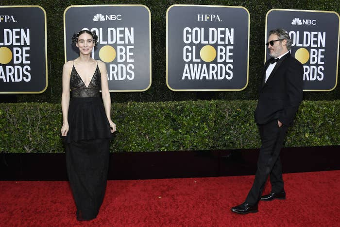 Rooney Mara and Joaquin Phoenix arrive to the 77th Annual Golden Globe Awards