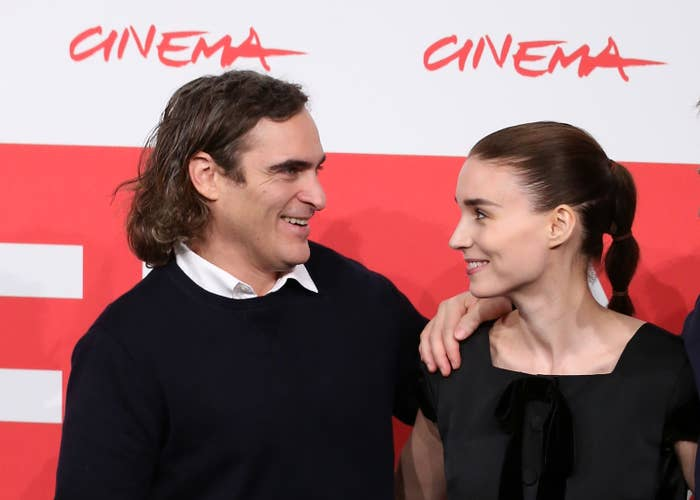 Joaquin Phoenix and actress Rooney Mara attend the 'Her' Photocall