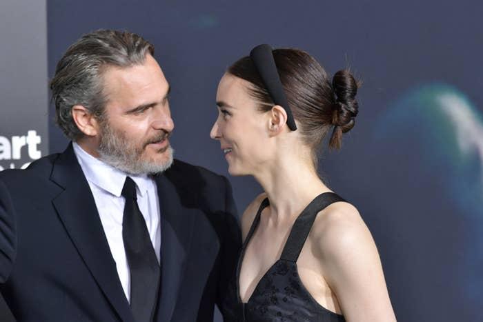 "Joaquin Phoenix and Rooney Mara attend the premiere of Warner Bros Pictures ""Joker"""