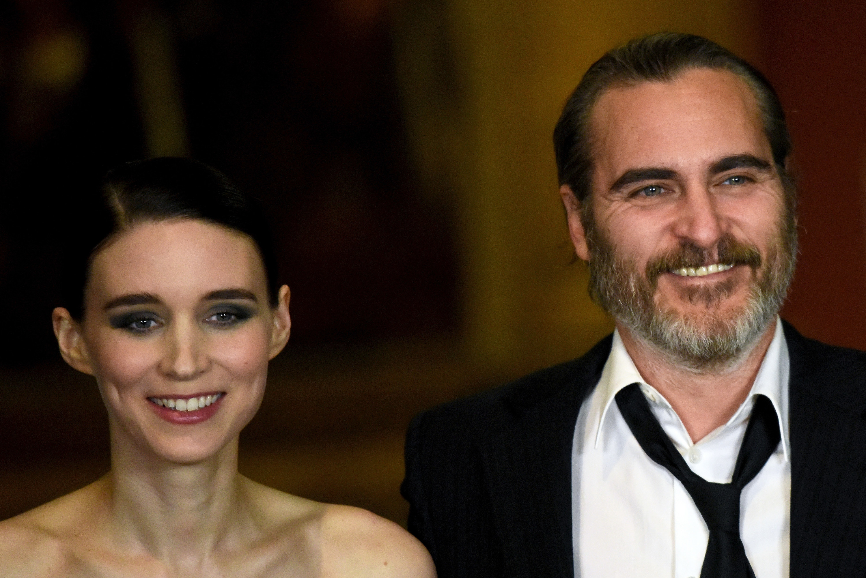 Rooney Mara (L) and Joaquin Phoenix attend the 'Mary Magdalene' special screening