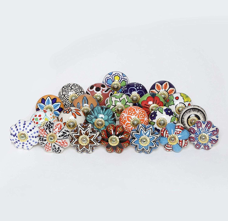 Assorted colourful doorknobs