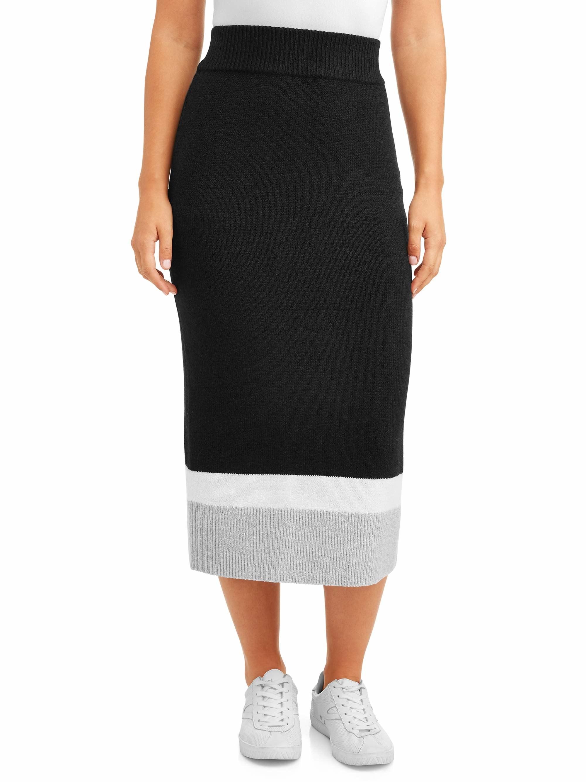 Model wears skirt in black soot colorblock