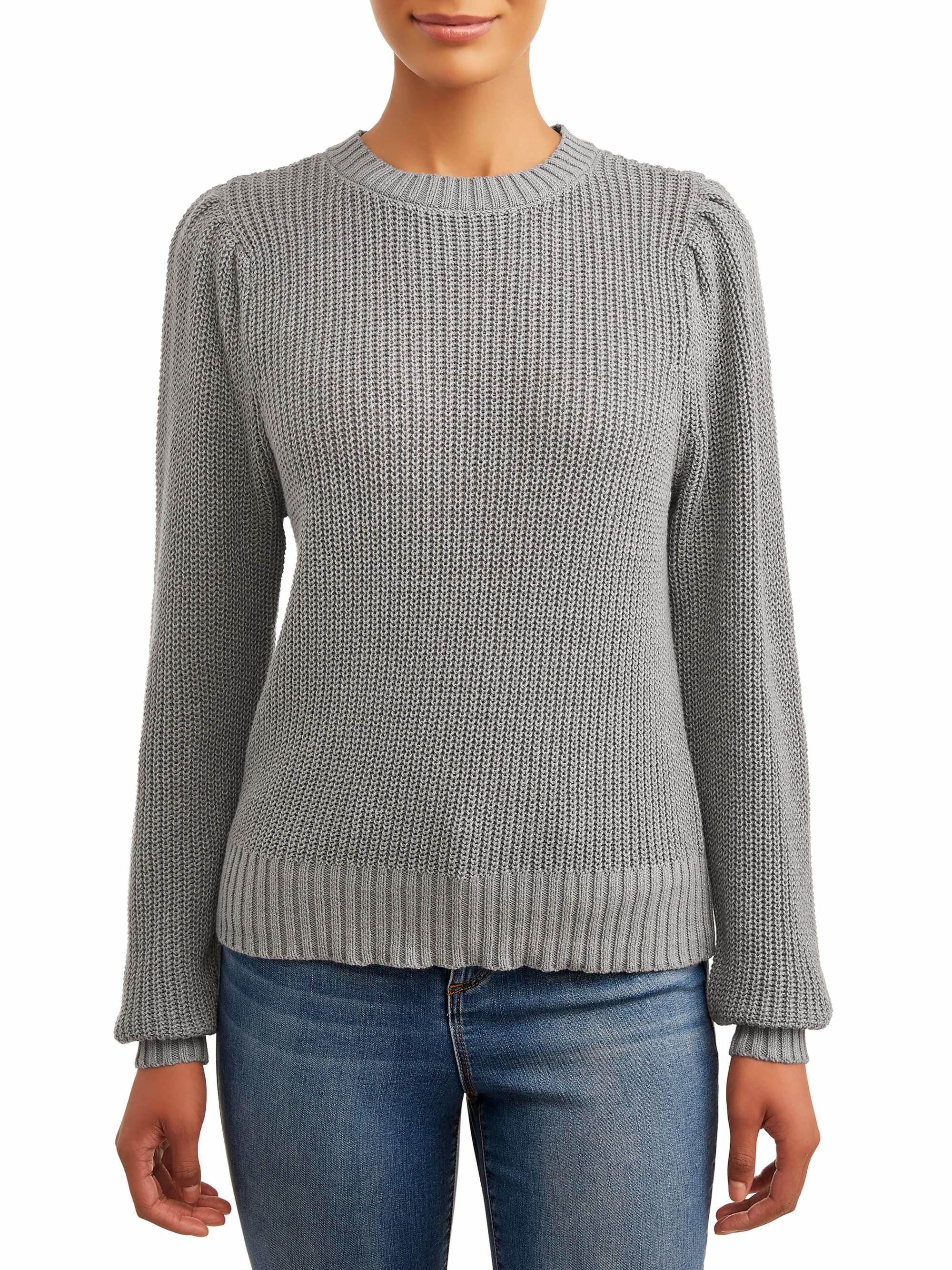 Model wears sweater in medium grey heather