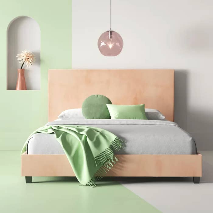 The bed frame in blush