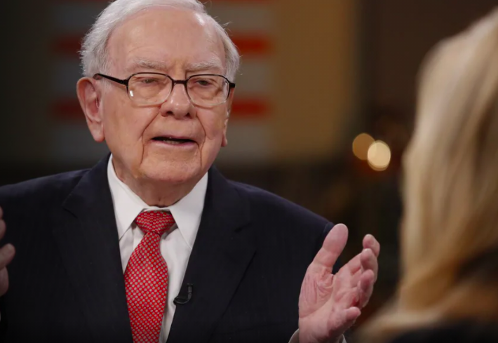 Warren Buffett answering a question during a TV interview