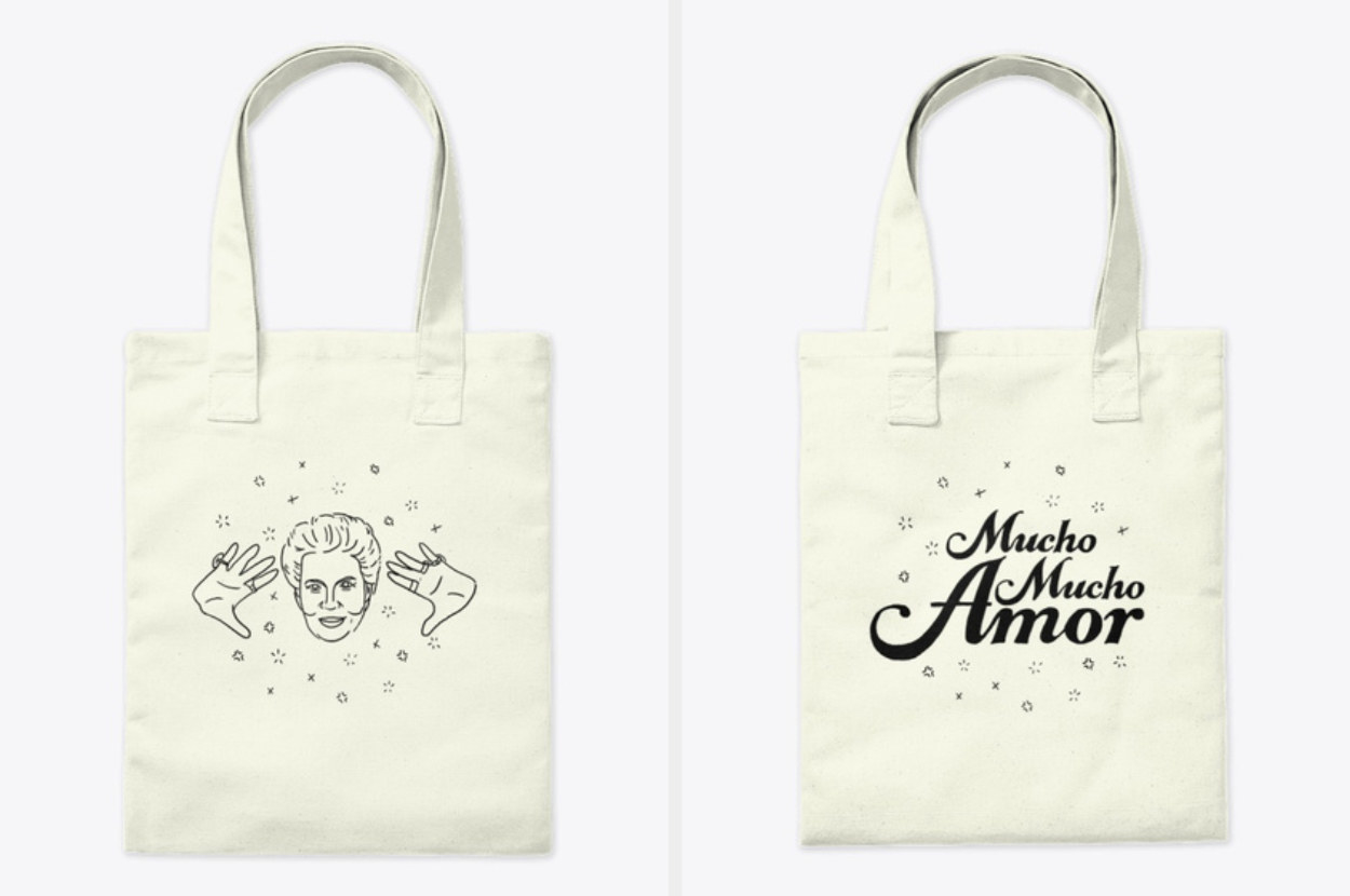 """A natural-colored tote bag with an illustration of Walter Mercado on one side and """"Much mucho Amor"""" on the other"""