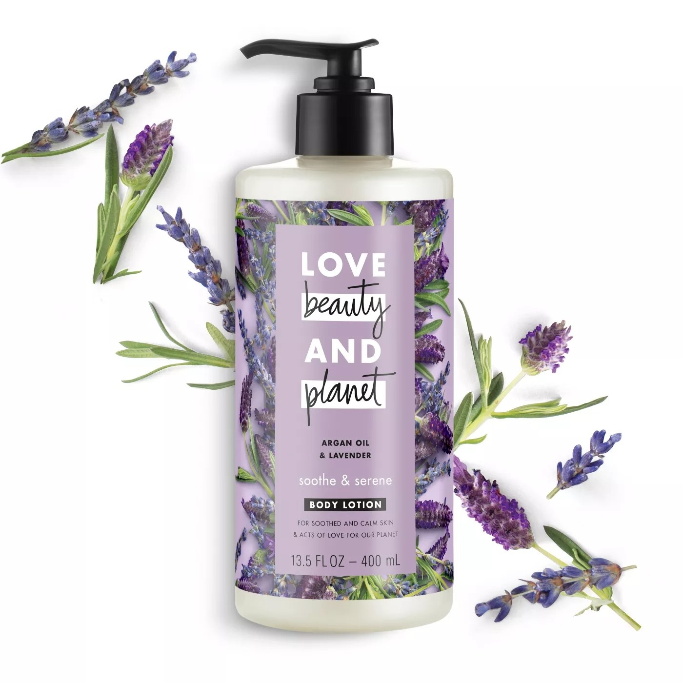 The 13.5-oz bottle of argan oil and lavender body lotion from Love, Beauty, And Planet