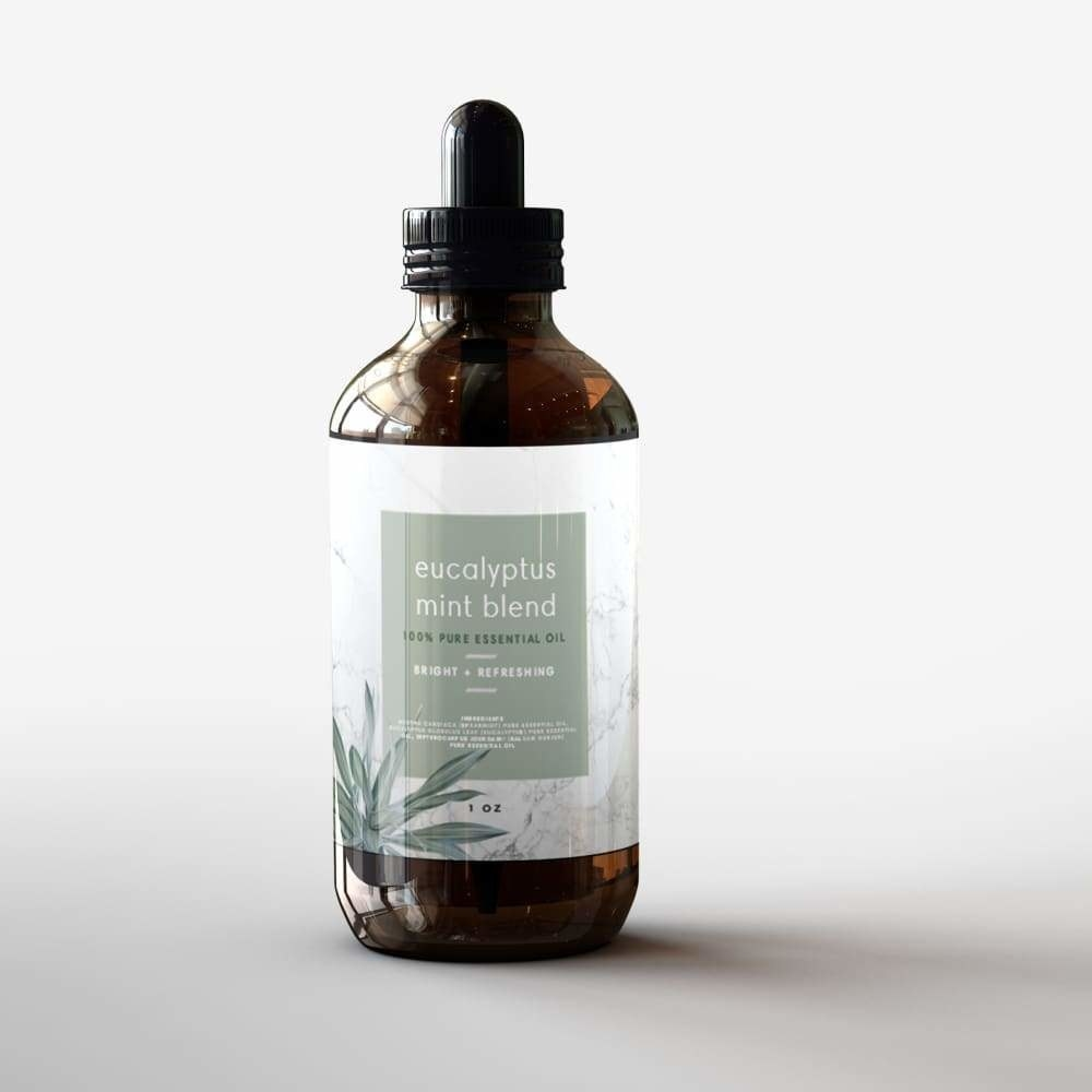 bottle of eucalyptus mint blend essential oil