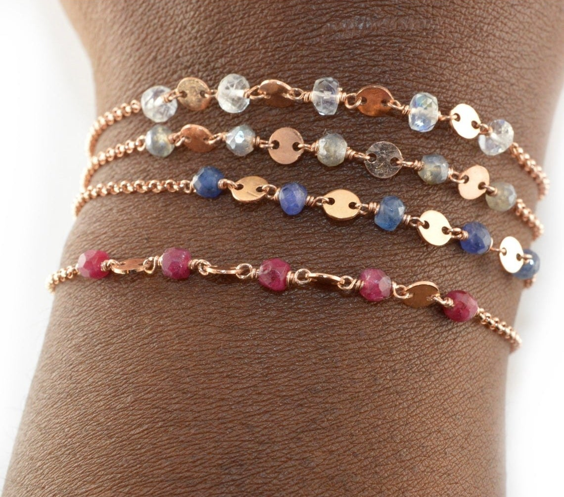 mini chain bracelets with tiny stones in different colors