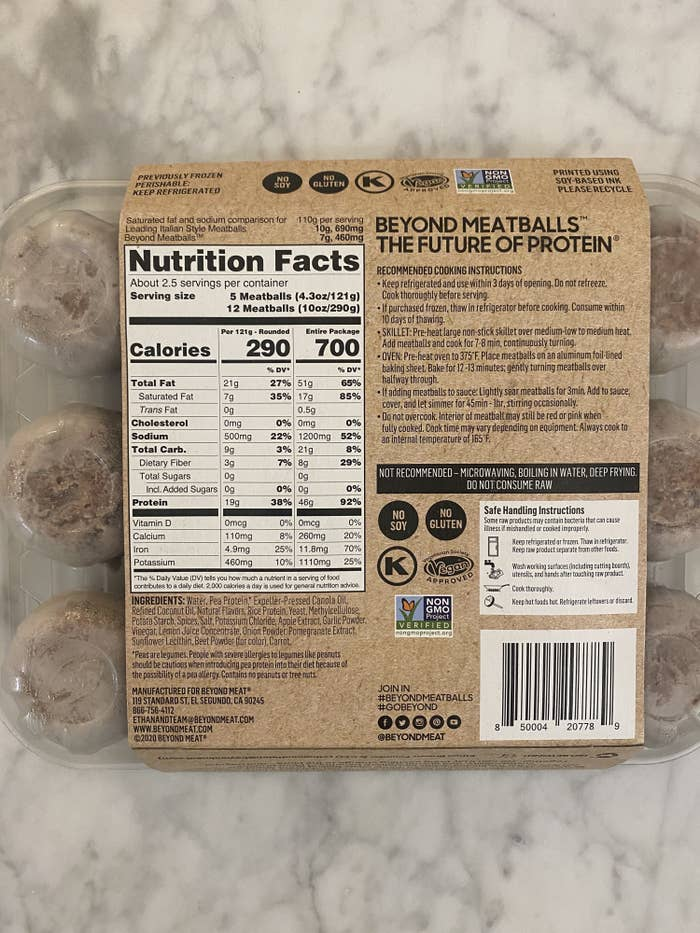 The nutrition label on the back of the Beyond Meat Meatballs packaging.